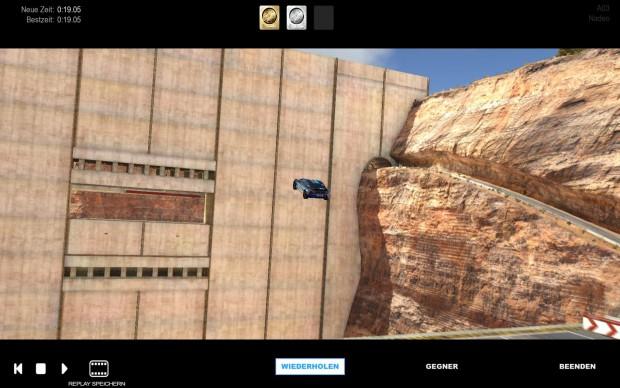 Mit seinem Vehikel muss der Spieler die Maueröffnung der Talsperre treffen.