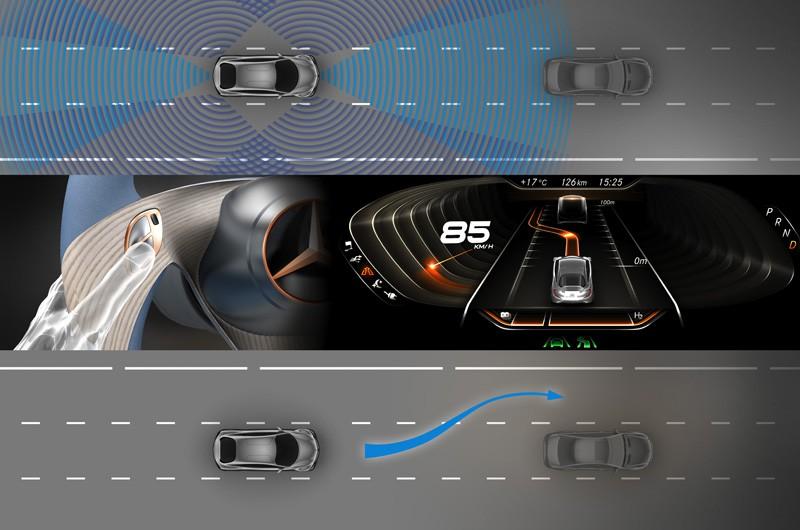 Mercedes-Zukunftsauto F125: Der Wasserstoff steckt in der Karosserie - Der F125! soll verschiedene Fahrassistenzsysteme bieten. (Bild: Daimler/Mercedes)