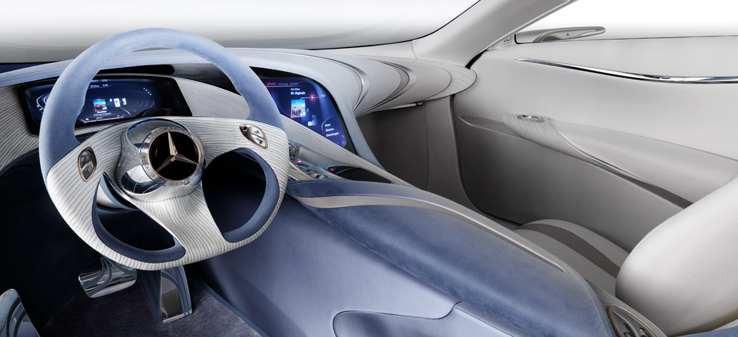 Mercedes-Zukunftsauto F125: Der Wasserstoff steckt in der Karosserie - Das Hight-Tech-Cockpit des F125!  (Bild: Daimler/Mercedes)