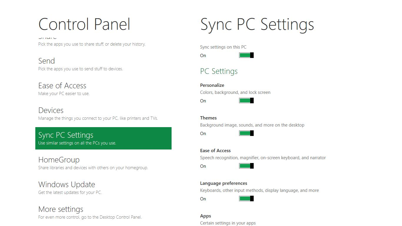 Microsoft: Windows 8 erhält integrierten Passwortmanager - Windows 8 Control Panel