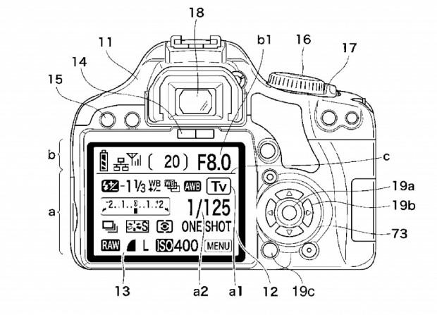 Der obere Teil des Displays soll nicht berührungsempfindlich sein.  (Bild: Canon/US-Patent- und Markenamt)