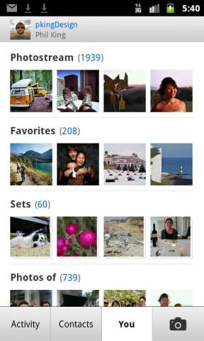 Fotostream, Alben und Favoriten in Flickrs Android-App (Bild: Yahoo)