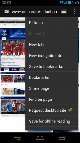 Kontextmenü des Android-Browsers - Option, eine Webseite für die Offlinenutzung zu laden
