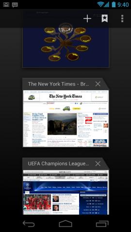 Übersicht der offenen Browsertabs