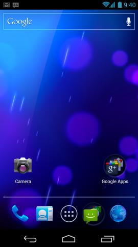 Startbildschirm von Android 4.0