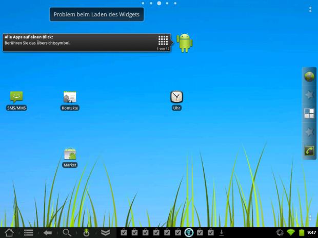 Startbildschirm von Cyanogenmod 7.1 auf dem Touchpad