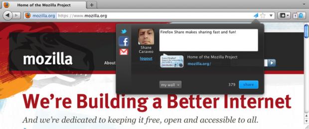 Firefox Share soll das Teilen von Inhalten einfacher machen.