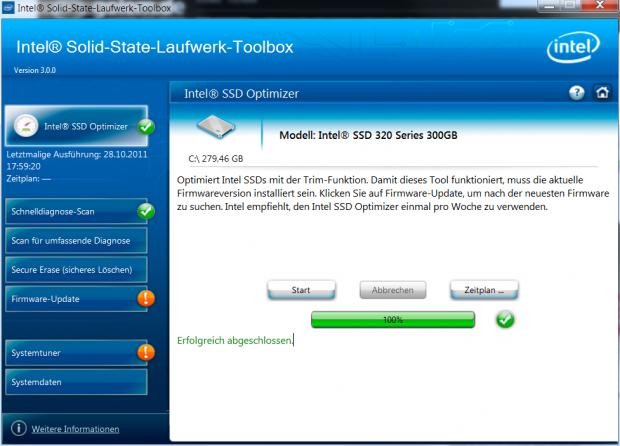 Der SSD-Optimizer hat seine Arbeit mittels Trim erledigt.