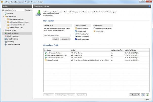 Mailstore Home 5 - Archivierungsaufgaben erstellen (Bild: Deepinvent)