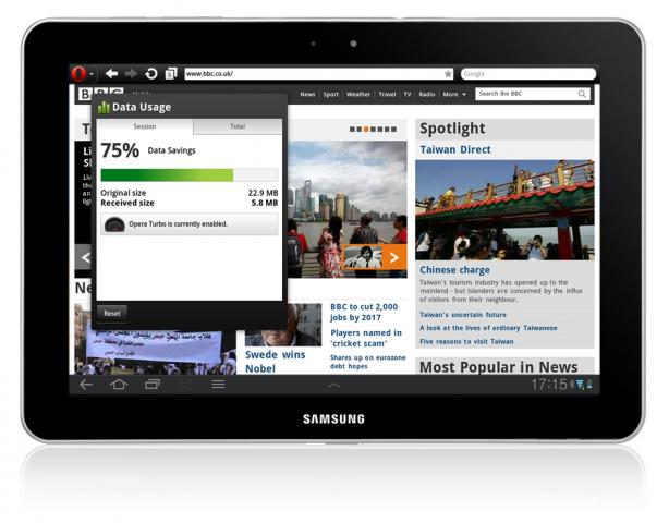 Opera Mobile 11.5 zeigt Datenverbrauch auf einem Honeycomb-Tablet.