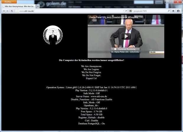 So sah Uhls gehackte Homepage aus, ...