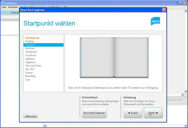 Mit der Blurb-eigenen Software Booksmart wird das Fotobuch gestaltet. Dabei hilft ein Assistent mit Vorlagen.