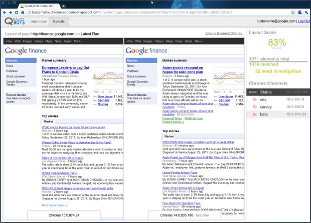 Google Qualitybots - Vergleichstool zeigt Webseiten in verschiedenen Chrome-Vorabversionen (Bild: Google)