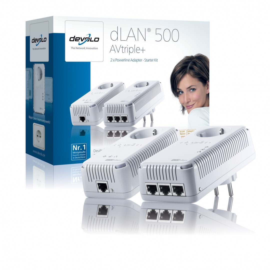 dLAN-500 AVtriple+: Devolos Powerline-Adapter mit drei Gigabit-Ports - Devolo dLAN-500 AVtriple+ - 500-MBit/s-Powerline-Adapter mit drei Gigabit-Ports und Steckdose