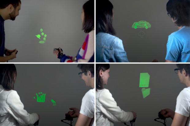 Sidebyside - Küken retten, 3D-Modelle drehen, Blöcke zum Einstürzen bringen und Dateitransfer (Bild: Disney Research)