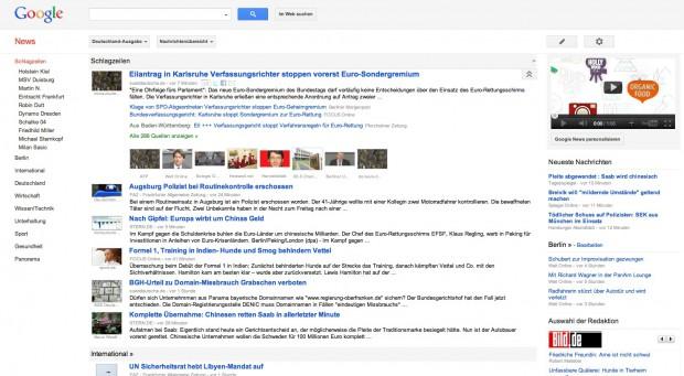 Google News nach dem Relaunch (Bild: Google)