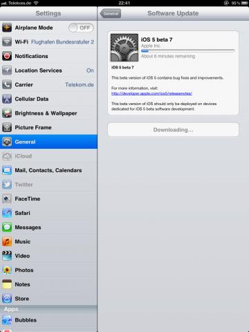 Ein Balken zeigt den Updatefortschritt.