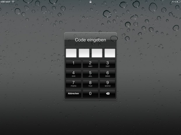 Die Codesperre von iOS 5 kann beim iPad 2 leicht umgangen werden. (Screenshot von Golem.de)