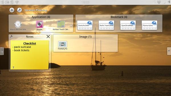 Eine Aktivität in der Übersicht mit verschiedenen Anwendungen und Dateien (Bild: KDE)