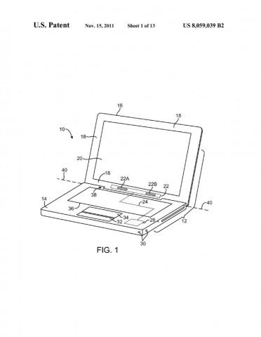 Notebook mit Mobilfunktechnik im Scharnier aus dem US-Patent 8,059,039. (Bild: US-Patent- und Markenamt)