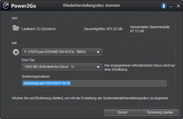 Erstellen einer Blu-ray zur Systemwiederherstellung (Bild: Cyberlink)