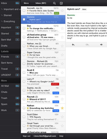 iPad-Version der Google-Mail-App (Bild: Google)