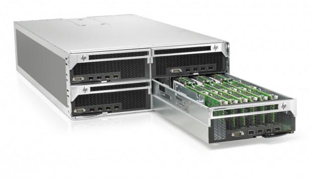 HPs Redstone-Plattform: 4HE-Gehäuse mit vier Einschüben für jeweils 70 Server