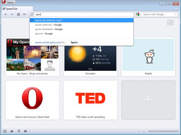 Opera 11.60 mit Adressleistenmenü