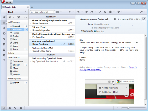 E-Mail-Client in Opera 11.60