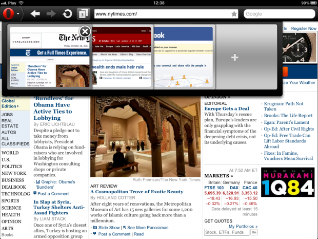 Tabvorschau in Opera Mini 6.5 auf dem iPad im Querformat