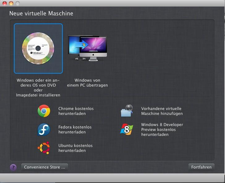 Parallels Desktop 7: Windows 8 Preview einfacher unter Mac OS X installieren - Parallels Desktop 7 for Mac bietet nun auch direkt eine Installation der Windows 8 Preview an (Bild: Parallels)