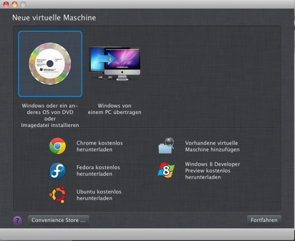 Parallels Desktop 7 for Mac bietet nun auch direkt eine Installation der Windows 8 Preview an (Bild: Parallels)