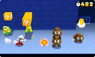 Test Super Mario 3D Land: Kreatives Retrofeuerwerk mit Waschbär-Mario - In der Mitte ist einer der neuen 3fach-Fragezeichenbausteine zu sehen.