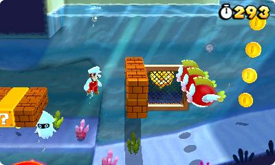 Test Super Mario 3D Land: Kreatives Retrofeuerwerk mit Waschbär-Mario - Unterwasser hilft der Feueranzug wie immer gegen Feinde.