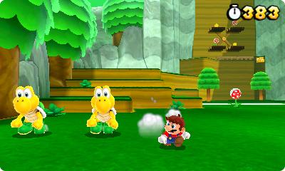 Test Super Mario 3D Land: Kreatives Retrofeuerwerk mit Waschbär-Mario - Als kleiner Mario ist der Held sehr verwundbar.