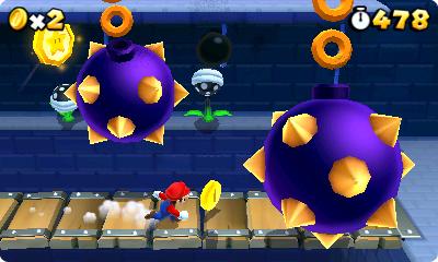 Test Super Mario 3D Land: Kreatives Retrofeuerwerk mit Waschbär-Mario - Ist Stereo-3D am 3DS aktiv, schnellen diese Morgensterne auf den Spieler zu.