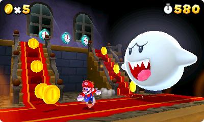 Test Super Mario 3D Land: Kreatives Retrofeuerwerk mit Waschbär-Mario - Ab und zu muss Mario auch durch ein Herrenhaus samt Buu-Huus.