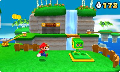 Test Super Mario 3D Land: Kreatives Retrofeuerwerk mit Waschbär-Mario - Aussichtsplattformen wie diese kann Mario nutzen, ...