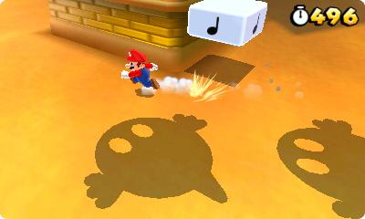 Test Super Mario 3D Land: Kreatives Retrofeuerwerk mit Waschbär-Mario - Im Sand warten fiese Untergrundgegner darauf, Mario zu verspeisen.