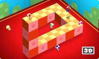 Ein Beispiel für ein perspektivisches Rätsel in Super Mario 3D Land. Unten rechts zeigt das Spiel an, ob Stereo 3D am 3DS aktiv ist.