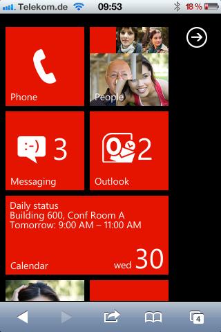 UI von Windows Phone 7 auf einem iPhone 4S