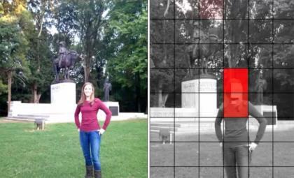 """Ergebnis der Youprove-Analyse. Auf der linken Seite ist das ursprüngliche Foto. Auf der rechten Seite zeigt die """"Heat Map"""", wo das Bild bearbeitet wurde. (Bild: Peter Gilbert, Duke University)"""