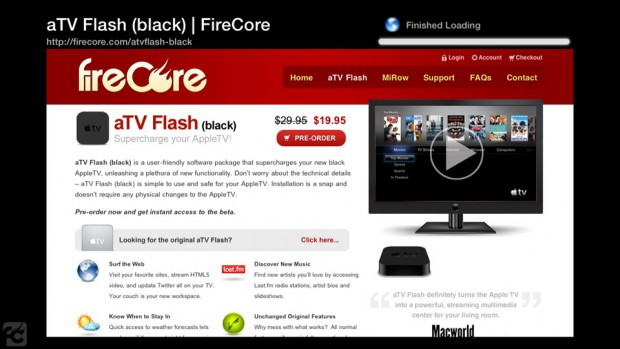 aTV Flash (black) - der Browser in Aktion (Bild: Firecore)