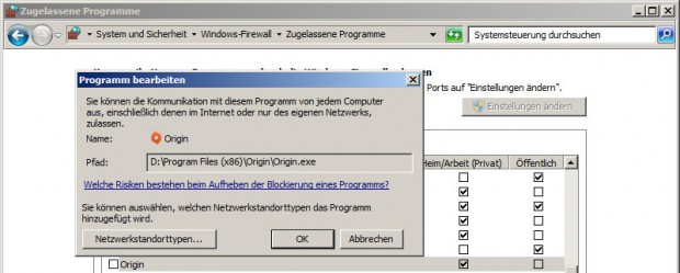 Battlefield 3 - um der Origin.exe den Zugang zum Internet zu verwehren, muss in der Windows-Firewall nur eine entsprechende Regel eingetragen werden. (Screenshot: Golem.de)
