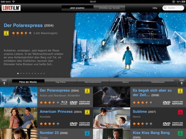 Lovefilm Player für iPad - Blick auf den Startbildschirm (Screenshot: Golem.de)