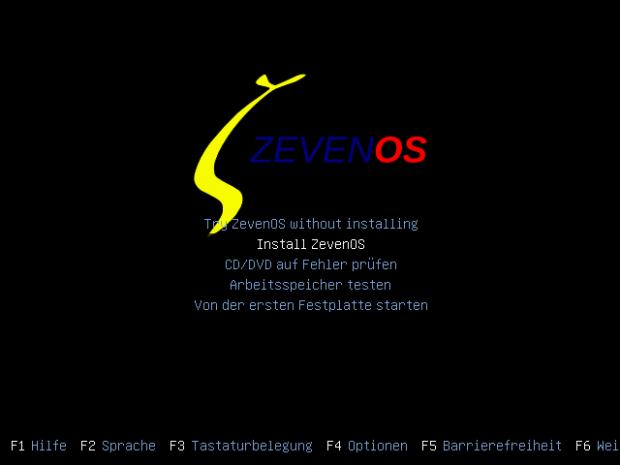 Der Boot-Screen von ZevenOS 4.0