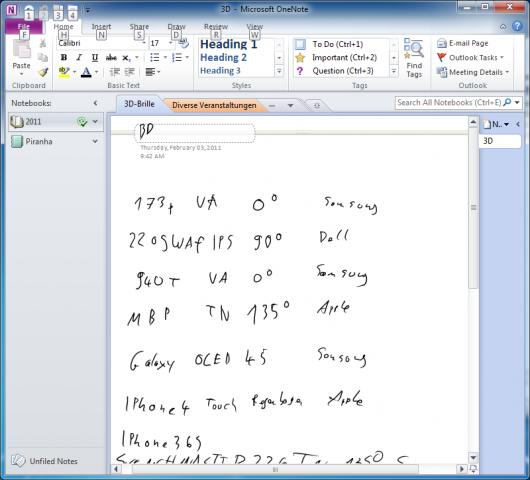 Notizen in Onenote 2010 auf dem PC...