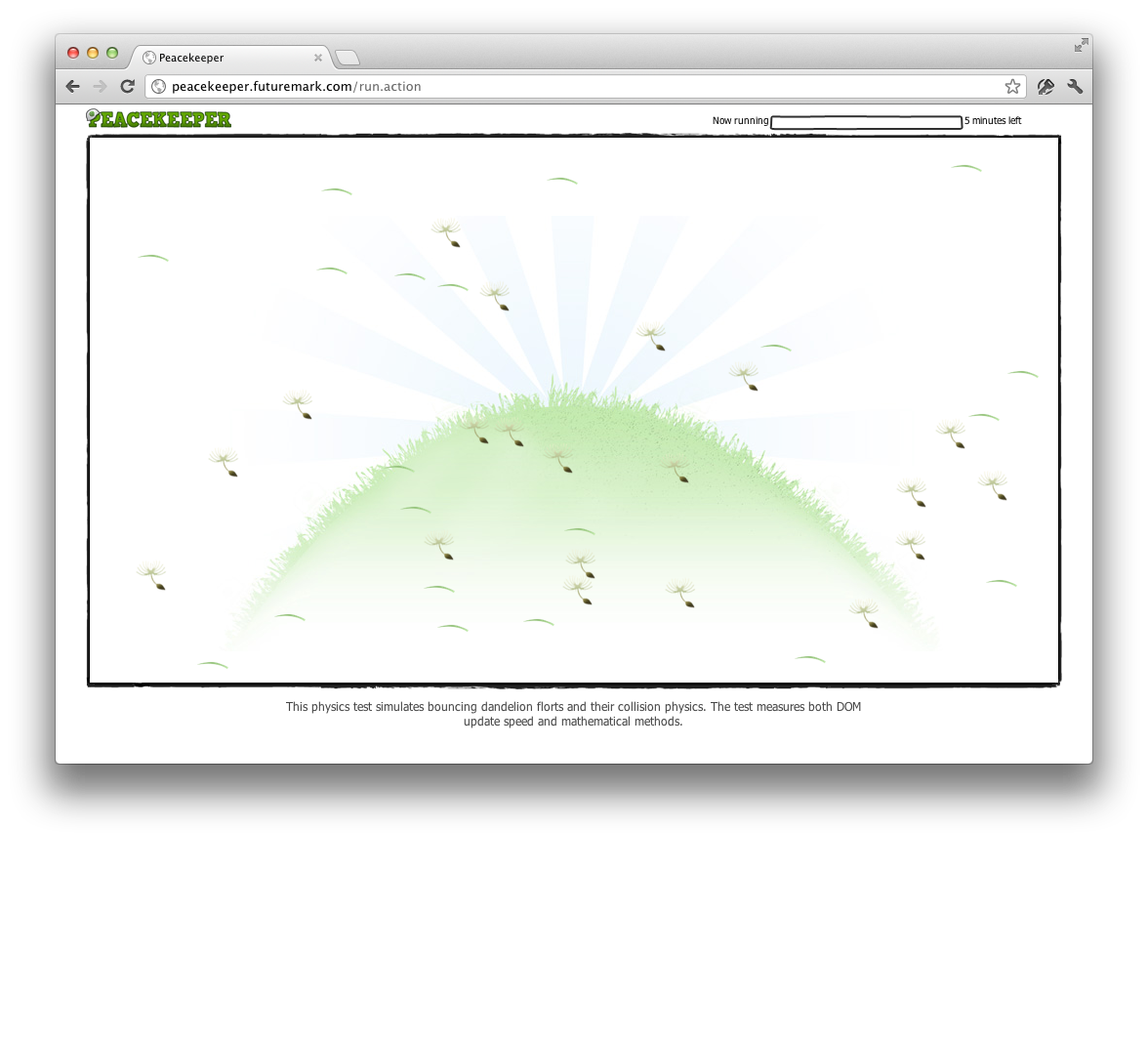 Peacekeeper: Browser-Benchmark bescheinigt Safari Stillstand - Browser-Benchmark Peacekeeper von Futuremark