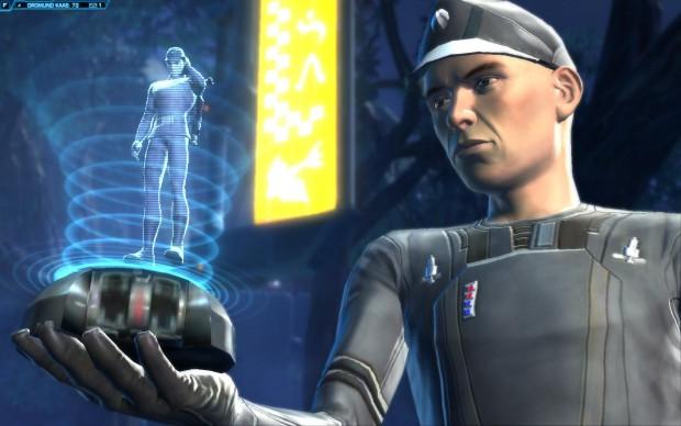 Ein Offizier bekommt eine Holo-Botschaft in einer schick gemachten Zwischensequenz.