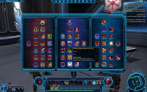 Ab Level 10 darf der Spieler Talentpunkte vergeben.